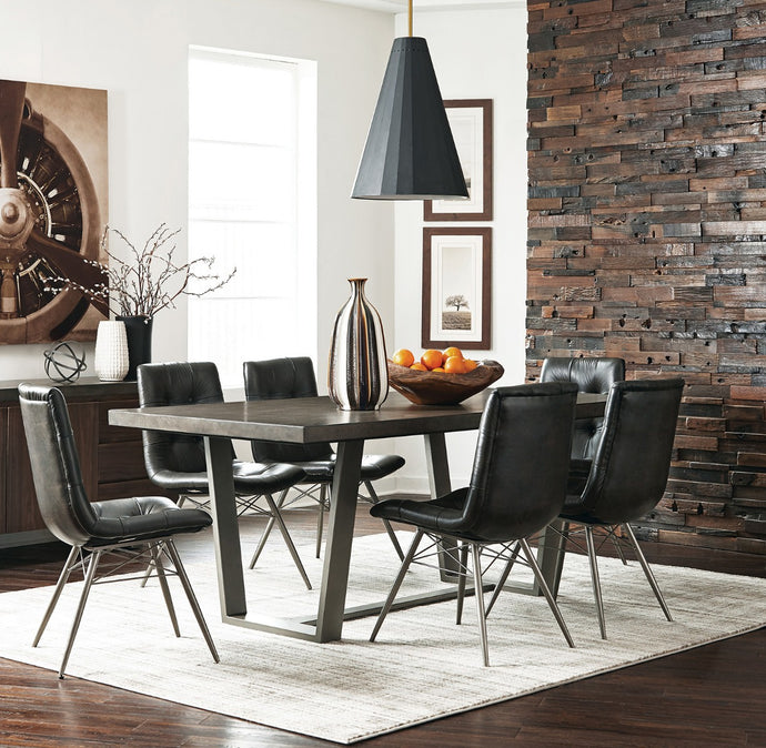 Coaster Hutchinson Aged Concrete Dining Table Set