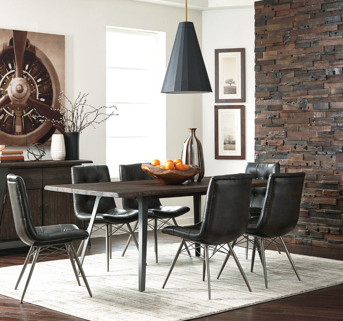 Coaster Fremont Dark Rustic Brown Dining Table Set