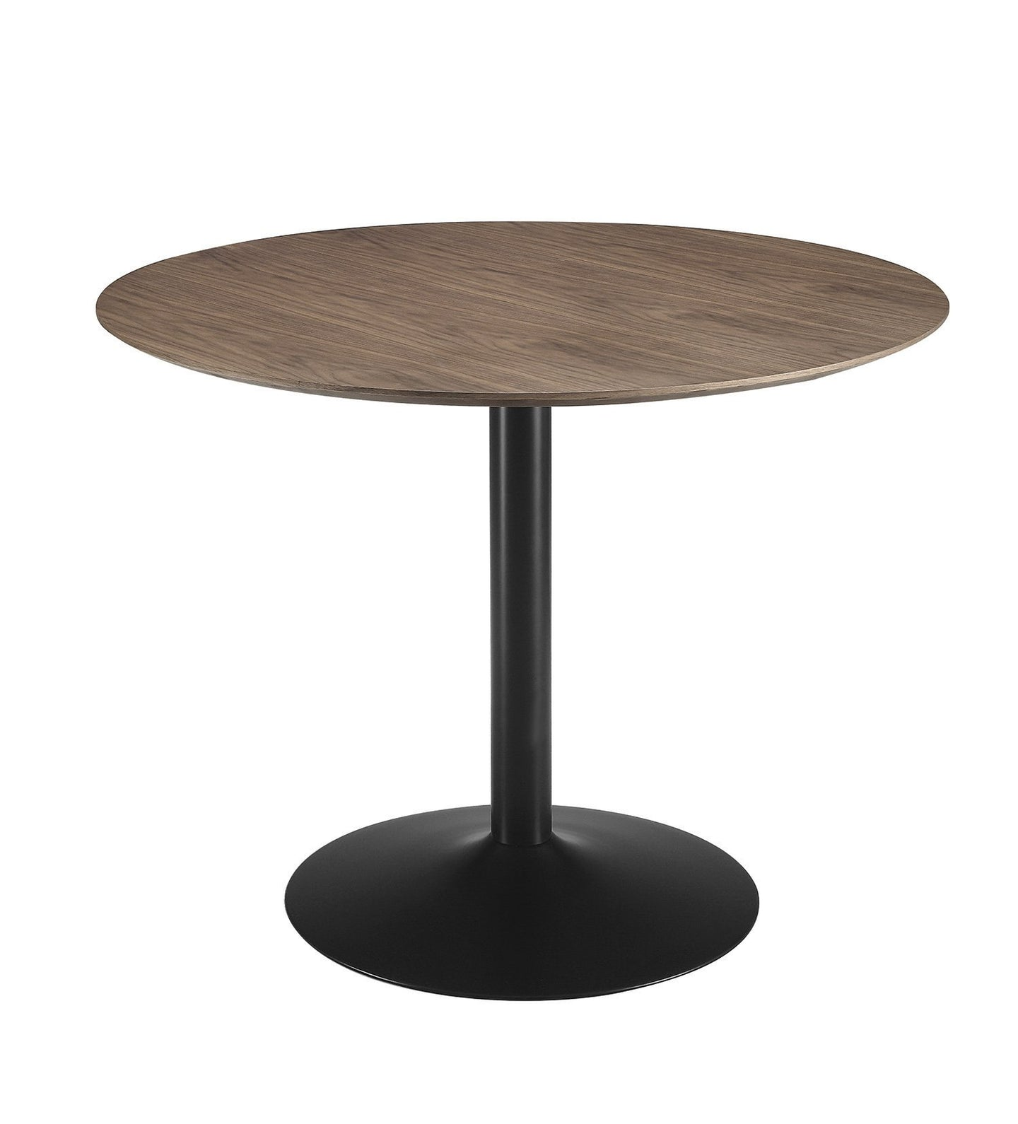 Montoya Walnut Wood Black Metal Round Dining Table