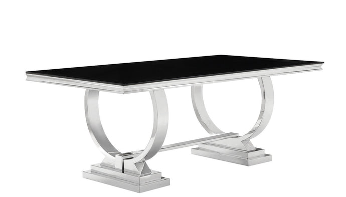 Coaster Antoine Black Tempered Glass Chrome Dining Table