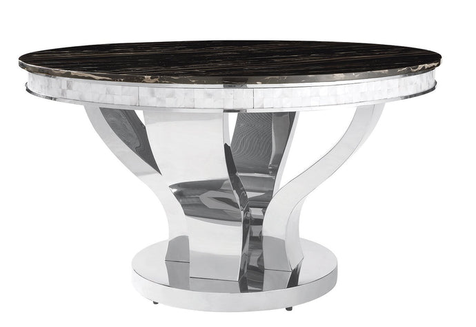 Anchorage Faux Marble Chrome Round Dining Table