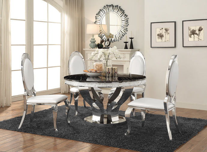 Coaster Anchorage Faux Marble Chrome 5 Piece Round Dining Table Set