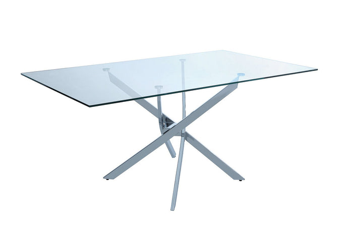 Nathan Tempered Glass Top Chrome Base Dining Table