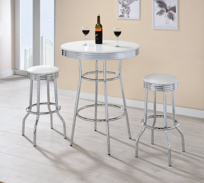 Coaster Glossy White Chrome Metal 3 Piece Dining Table Set