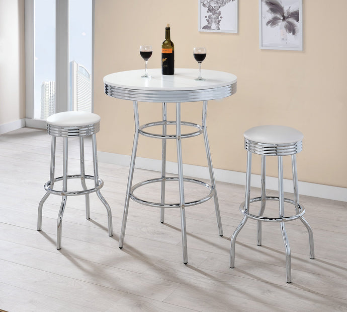 Glossy White Chrome Metal Dining Table Set