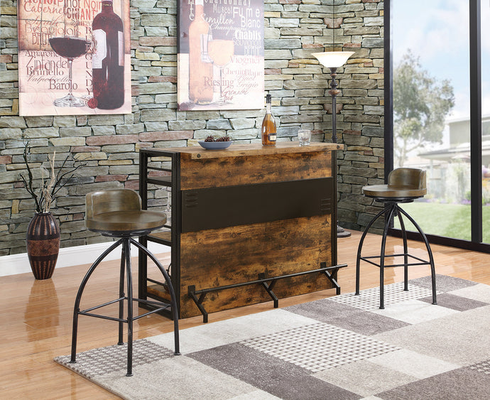 Coaster Antique Nutmeg Gunmetal 3 Piece Bar Table Set