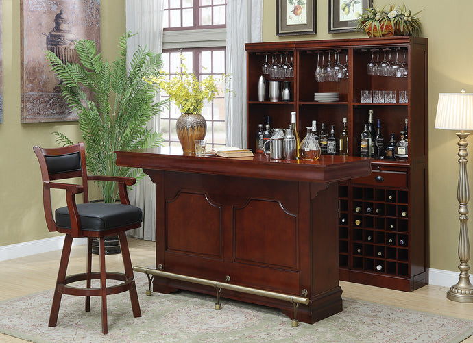 Coaster Merlot Wood Brushed Brass Metal 5 Piece Bar Table Set