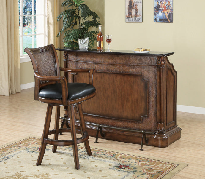 Homy Living Warm Brown And Antique Brass Wood Finish Bar Table Set