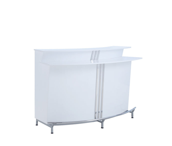 Coaster Glossy White Chrome And Silver Bar Unit