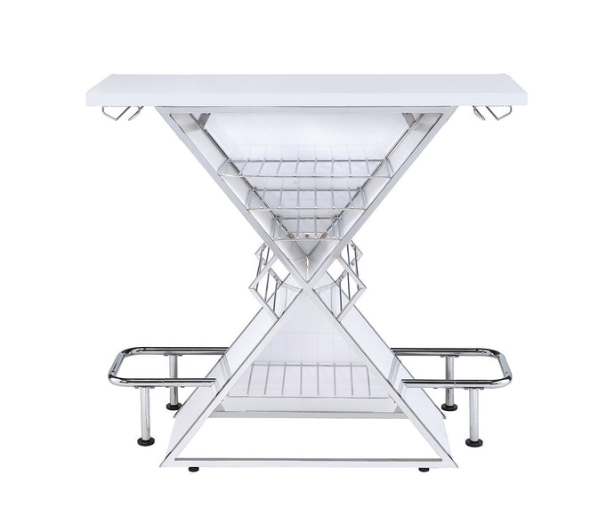 Coaster White Acrylic Chrome Base Bar Unit