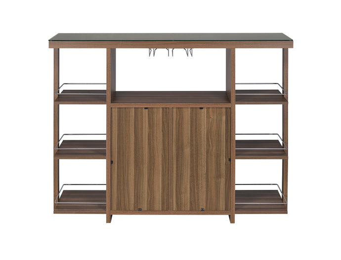 Coaster Walnut Wood With Tempered Glass Top Bar Unit