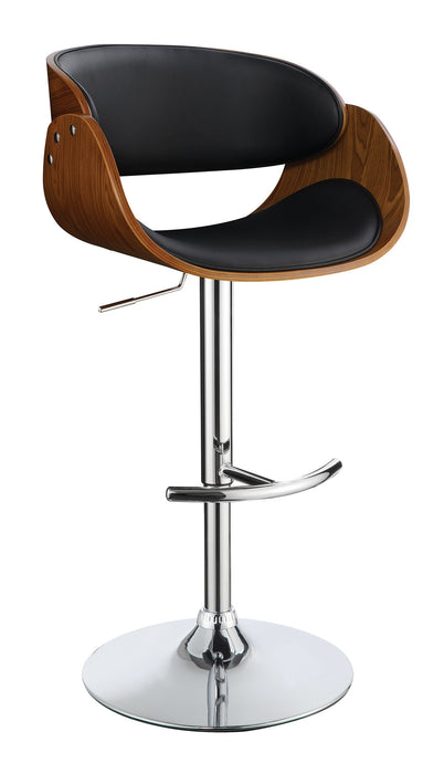 Homy Living Black Leatherette And Chrome Finish Adjustable Bar Stool
