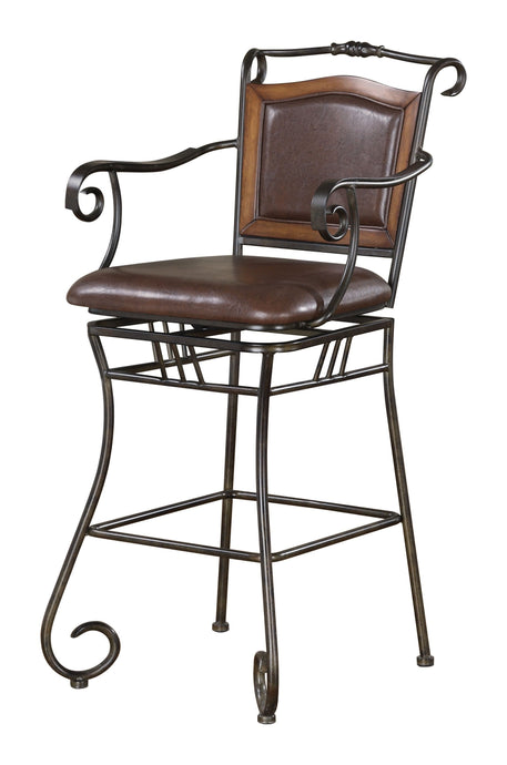 Bronze Metal Brown Leatherette Bar Stool