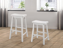 Load image into Gallery viewer, Coaster White Wood Finish Counter Height Stool Set Of 2
