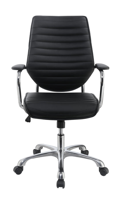 Homy Living Black Leatherette With Aluminum Office Chair