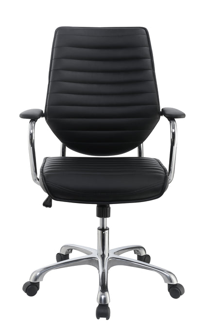 Coaster Black Leatherette With Aluminum Office Chair