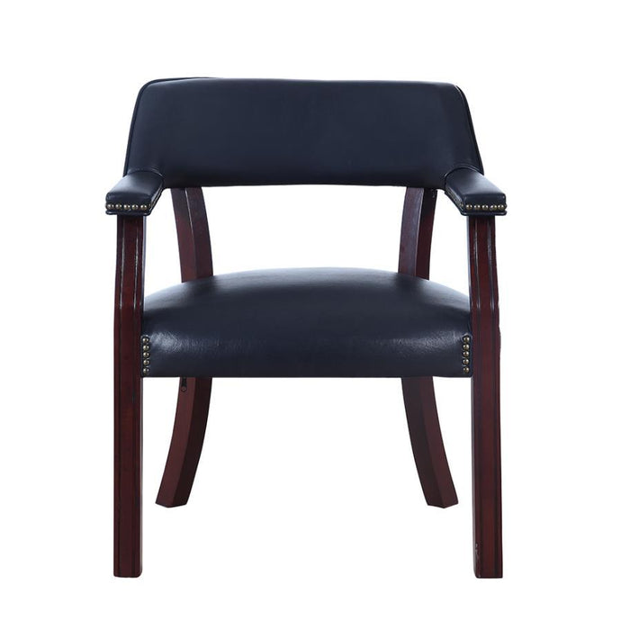Blue Leatherette And Cappuccino Wood Office Chair