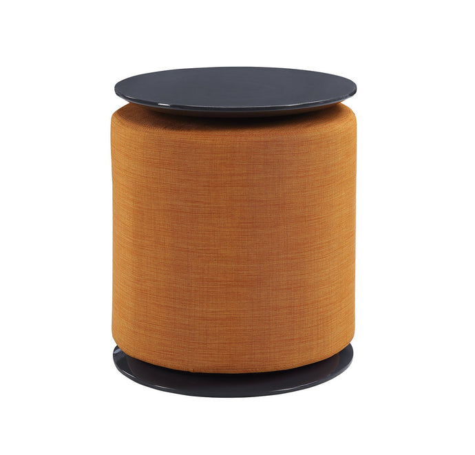 Homy Living Grey High Gloss And Orange Finish Accent Table with Ottoman