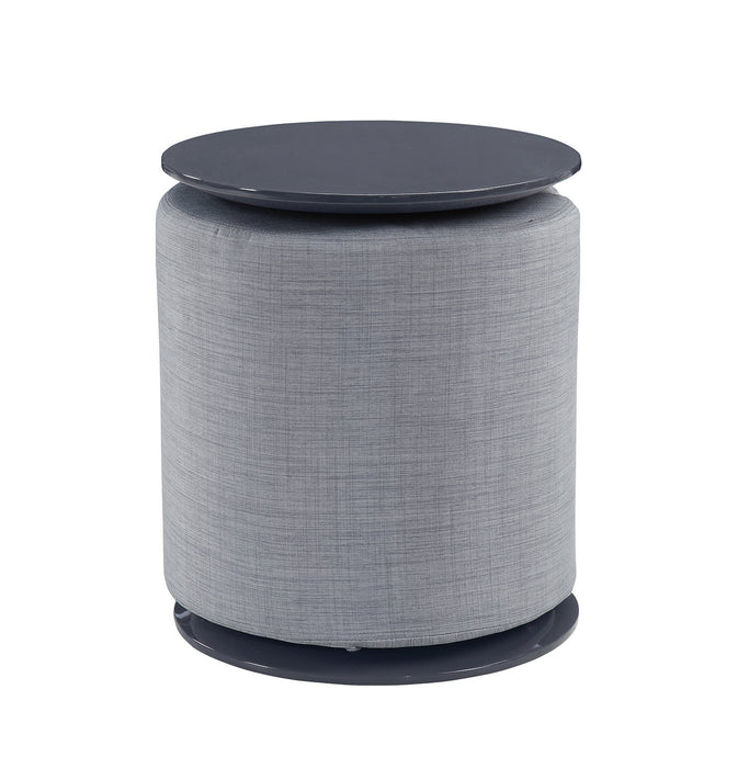 Homy Living Grey High Gloss And Grey Finish Accent Table with Ottoman