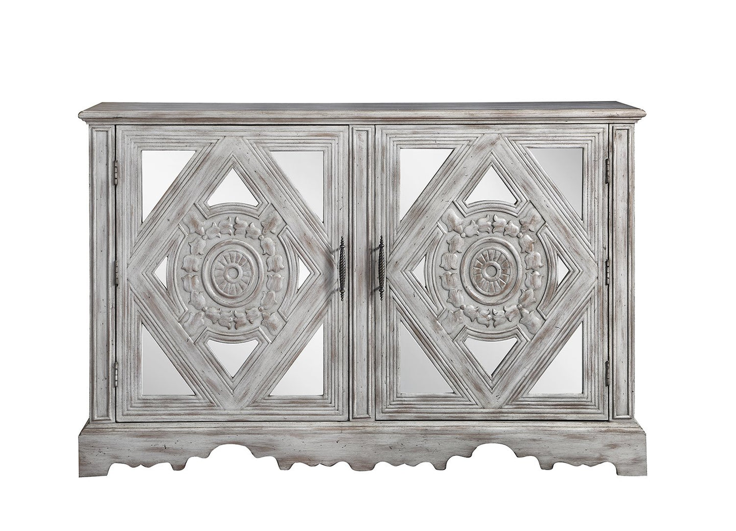 Distressed Grey Finish Accent Cabinet