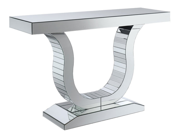 Homy Living Clear Mirror U Shaped Base Console Table