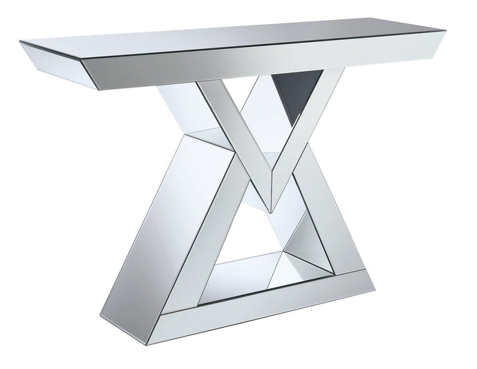 Clear Mirror Triangular Shaped Base Console Table