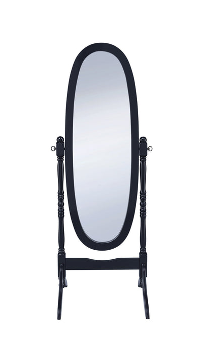 Transitional Style Black Finish Cheval Mirror