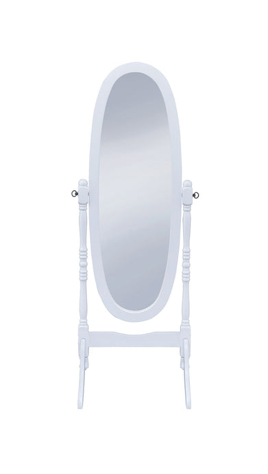 Transitional Style White Finish Cheval Mirror