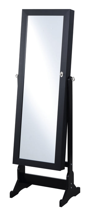 Contemporary Style Black Finish Jewelry Cheval Mirror