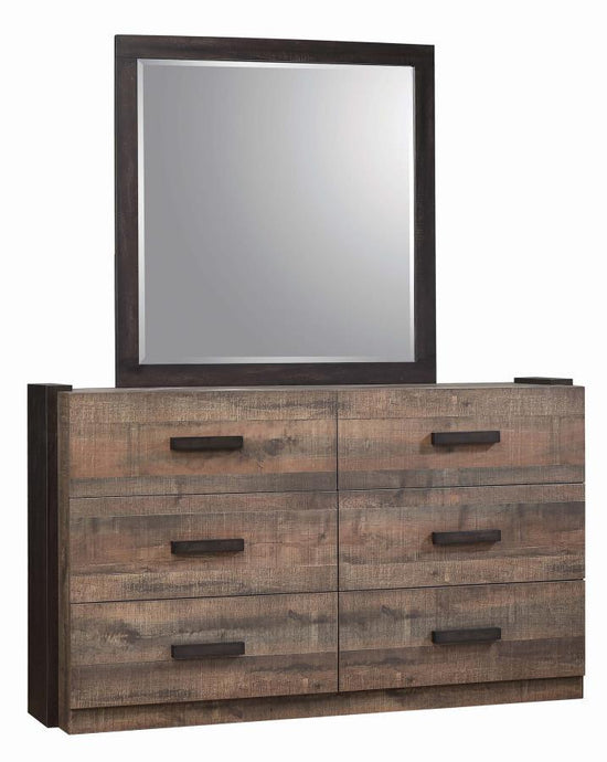 Homy Living Weston Weathered Oak Wood Finish Dresser With Mirror
