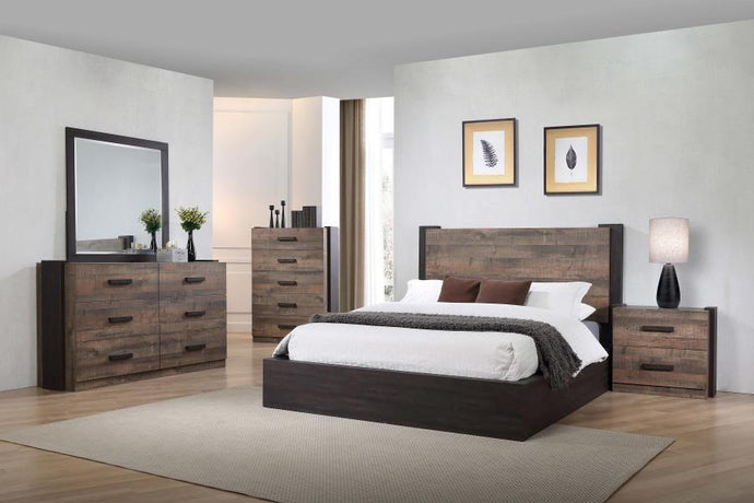 Homy Living Weston Oak Wood Finish 4 Piece Queen Bedroom Set