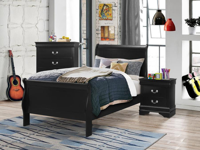 Homy Living Louis Philippe Black Wood Finish 4 Piece Twin Bedroom Set
