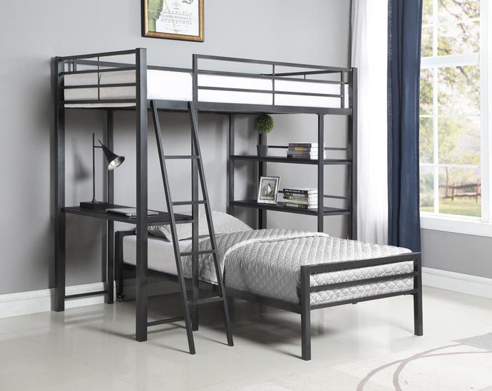 Coaster 400962T Hadley Twin Bed Gunmetal Finish