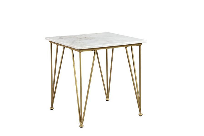 Homy Living Becca End Table With Marble White