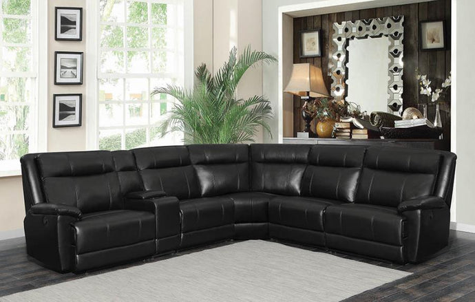 Black Leatherette Finish 6 Piece Sectional Sofa