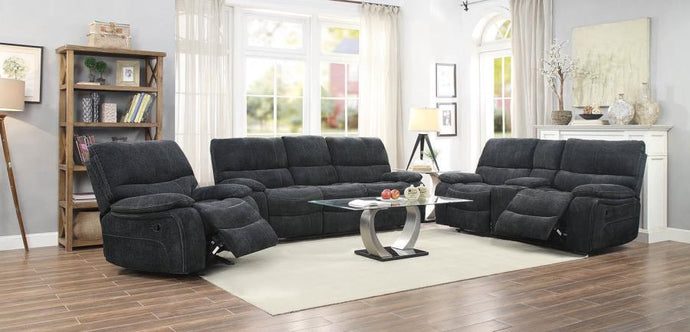 Perry Dark Grey Linen-Li Fabric Sofa Set