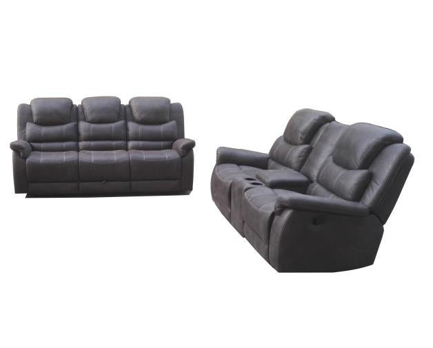Coaster 602451 Wyatt Grey Microfiber 2 Piece Sofa and Loveseat Set