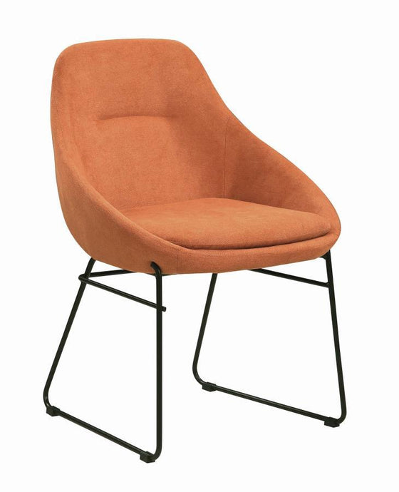 Homy Living Orange And Black Fabric And Metal Finish Dining Chair
