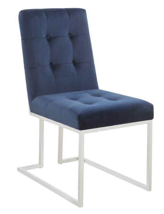 Coaster 190547 Ink Blue Matte Velvet Dining Chair Set of 2