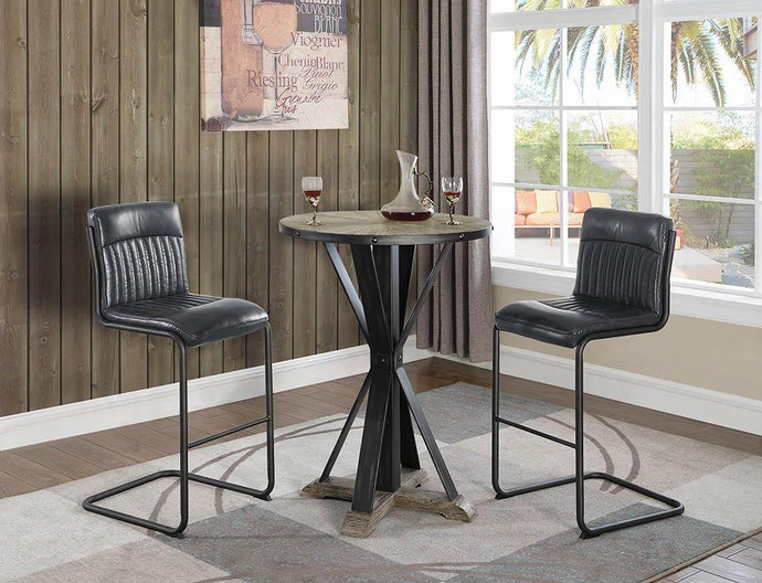 Industrial Round Driftwood Grey Bar Table Set
