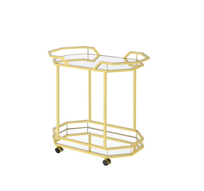 Coaster 181050 Mirror Brass Metal Finish Serving Cart