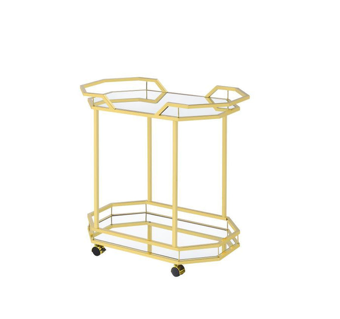 Mirror Brass Metal Finish Serving Cart