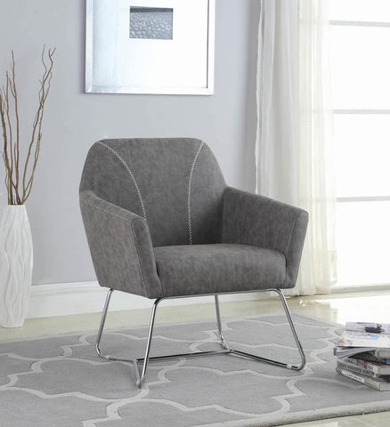 Wondrous Black Leatherette Espresso Leg Accent Chair With Ottoman Ncnpc Chair Design For Home Ncnpcorg