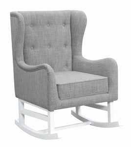 Upholstered Grey Fabric Rocking Chair
