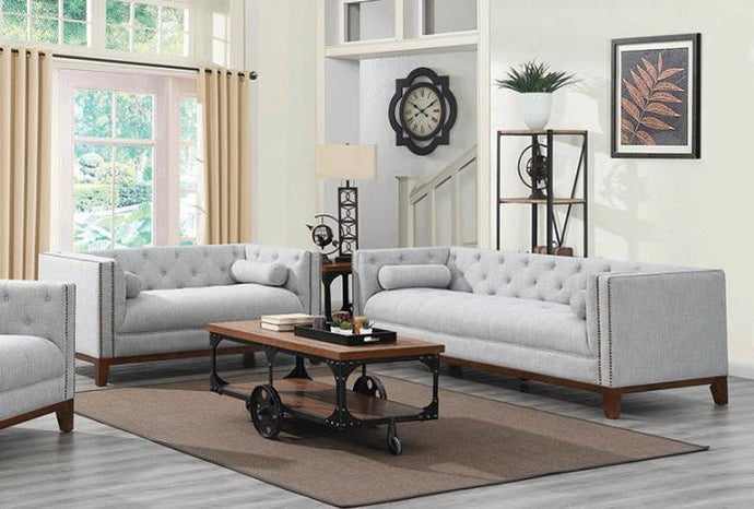 Coaster 508511 Celle Transitional Linen-Like Light Grey 2PC Sofa Set
