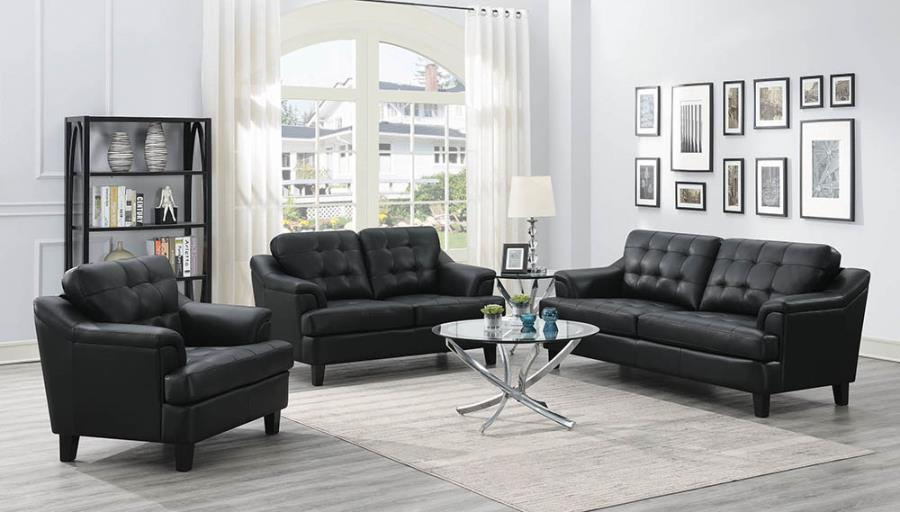 Coaster 508631 Freeport Contemporary Leatherette 3PC Sofa Set
