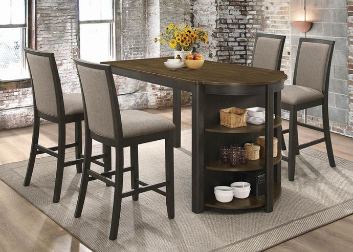 Coaster Clarksville 5 Piece Charcoal Counter Height Table Set