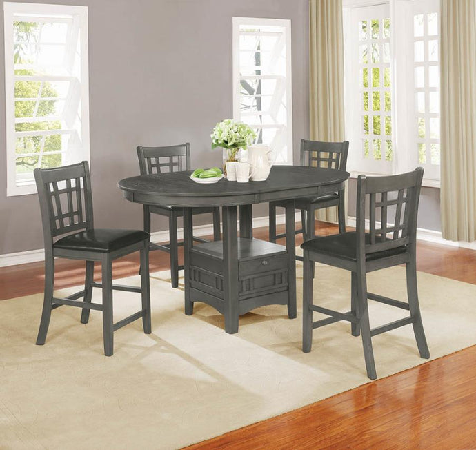 Coaster Lavon Transitional 5 Piece Grey Counter Height Table Set