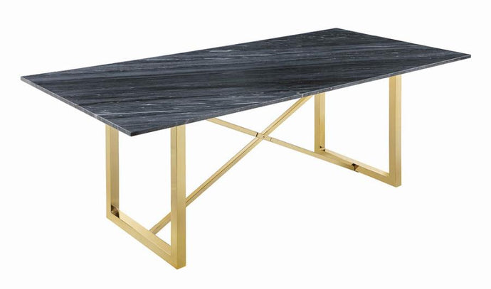 Coaster Arcade Contemporary Marble Grey And Gold Dining Table