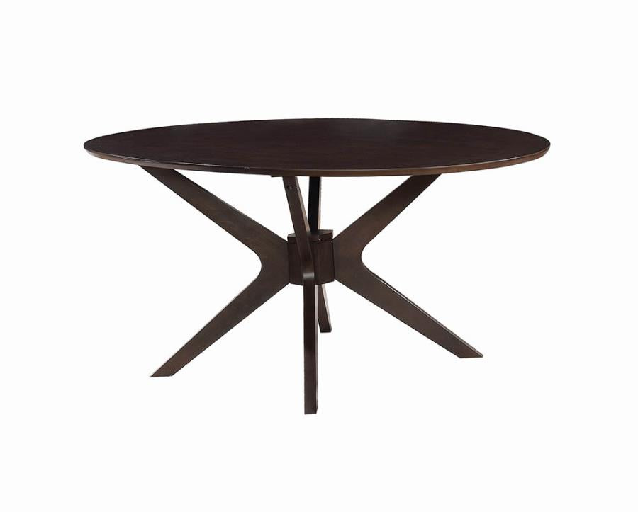 Coaster Jarmen Mid-Century Medium Brown Finish Oval Dining Table